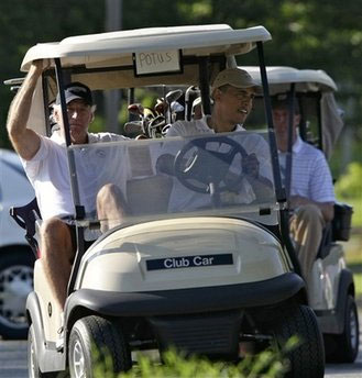 Obama-Golfs-While-Iranians-